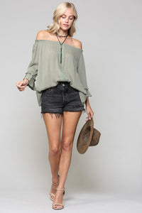 Lace Eyelet Off Shoulder Blouse Top, Olive