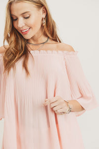 Pleated Off the Shoulder Blouse, Blush