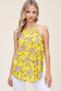 Floral Print Button Back Halter Tank Top, Yellow