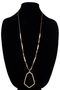 Glass Bead & Hammered Metal Geometric Pendant Necklace, Multi