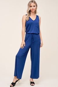 Jersey Knit Sleeveless Pants Jumpsuit, Navy