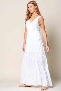 Crochet Trim Smock Waist Tiered Maxi Dress, White