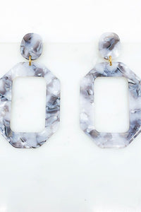 Acetate Post Drop Earrings, Grey