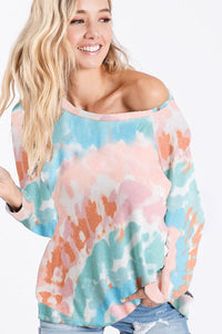 Tie Dye Print Long Sleeve Knit Pullover Top, Pink/Mint