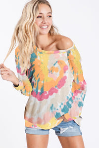 Tie Dye Print Long Sleeve Knit Pullover Top, Yellow/Orange