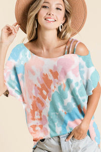Tie Dye Jersey Knit Strappy One Shoulder Top, Pink/Mint