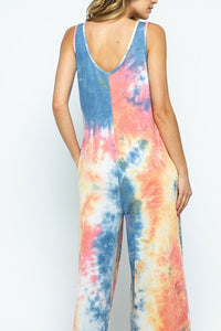 Tie Dye Jumpsuit with Pockets, Pink/Blue