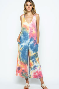 Tie Dye Jumpsuit with Pockets, Pink/Grey Mix