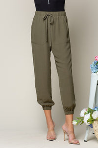 Jogger Pants with Side Button Details, Olive