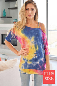 (Curvy) Tie Dye Jersey SS Top with Strappy Shoulder Detail, Blue