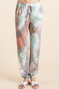 Tie Dye French Terry Jogger Pants, Marsala/Green