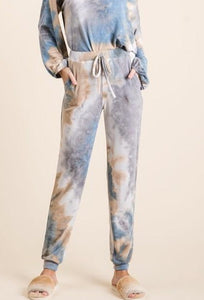 Tie Dye French Terry Jogger Pants, Blue/Marsala
