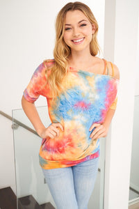 BARGAIN Tie Dye Jersey SS Top with Strappy Shoulder Detail, Orange Mix