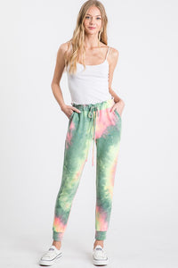 Tie Dye Jogger Pants, Green/Fuchsia Mix