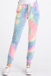 Tie Dye Jogger Pants (PLUS), Pink/Blue Mix