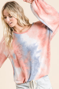 Tie Dye French Terry Balloon Sleeve Top, Blue/Marsala