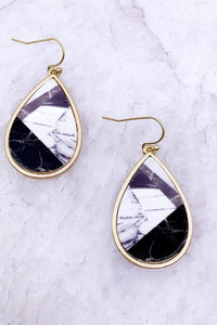 Marbled Teardrop Earrings, Black
