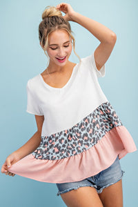 Cheetah Color Block Ruffle Top, Mauve Combo