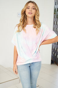 Tie Dye Twist Front Short Sleeve Jersey Top,