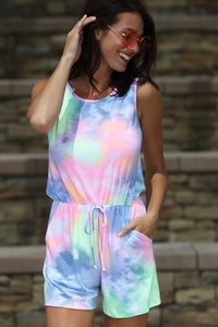 Tie Dye Sleeveless Shorts Romper with Pockets, Multi