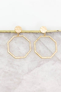 Octagon Post Drop Earrings, Matte Gold