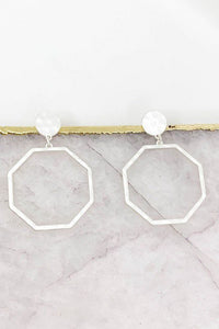 Octagon Post Drop Earrings, Matte Silver