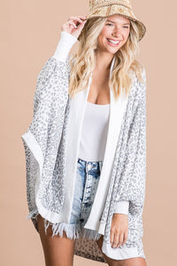 Leopard Print French Terry Dolman Sleeve Cardigan, Grey
