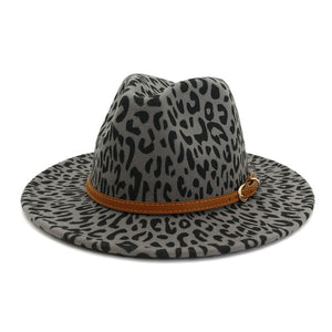 Brown Leather Belt Leopard Pattern Panama Hat, Grey