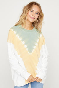 Chevron Garmet Dip Dyed Banded Top, Sage Mix