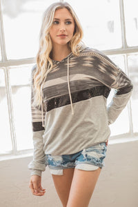 Out Shine Aztec Sequin Colorblock Hoodie, Black/Grey