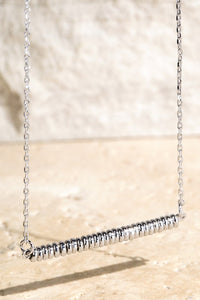 Brass Beads Bar Pendant Necklace, Silver