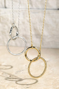 "Double Interlink Textured Ring 16"" Necklace, Silver"