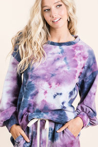 Brushed Knit Tie Dye Balloon Sleeve Top, Purple/Navy Mix