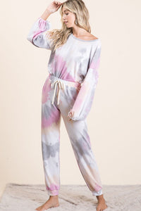 Tie Dye French Terry Balloon Sleeve Top, H. Grey/Coral/Pink