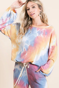 Tie Dye French Terry Balloon Sleeve Top, Mustard/Blue/Mauve