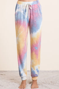 Tie Dye French Terry Jogger Pants, Mustard/Blue/Mauve