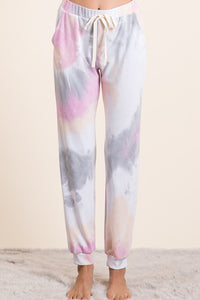 Tie Dye French Terry Jogger Pants, H. Grey/Coral/Pink