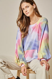 V-Back Kanga Pocket Balloon Sleeve Tie Dye Top, Multi