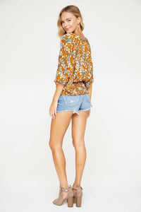 Floral Print Smocked Waistband Blouse Top, Camel