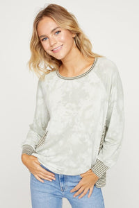 French Terry Tie Dye Top with Stripe Panels, Olive