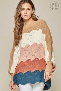 (CURVY) Dolman Sleeve Oversized Colorblock Sweater, Multi
