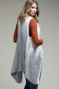 Cozy in the Cascades Two-Tone Cascading Knit Jacquard Vest, Ivory/Grey