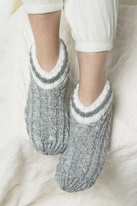 Cozy Toes Cable Knit and Fur Slipper Boot, Grey