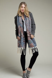 Deck The Halls Soft Plush Geo Pattern Tassel Trim Scarf, Denim