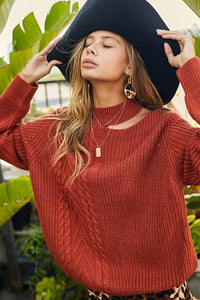 Mock Neck One Cutout Shoulder Loose Fit Cable Knit Sweater, Burnt Brick
