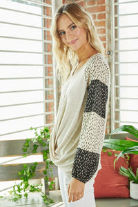 Drape Front Pattern Block Sleeve Top, Oatmeal