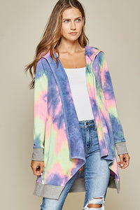 Makin' Moves Tie Dye Oversized Open Hooded Cardigan, Multi