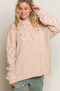 Pretty In Pink Open Weave Hooded Sweater, Blush