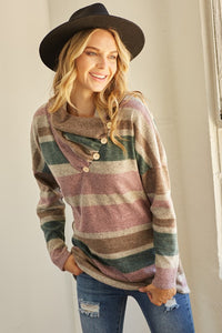 Got My Stripes On Brushed Knit Stripe Cowl Button Neck Sweater Top, Mauve/Teal
