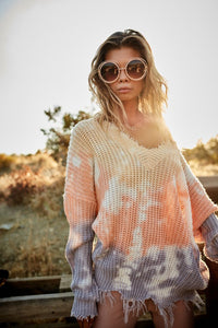 Coming Unraveled Frayed V Neck Tie-Dye Sweater, Cornsilk Mix